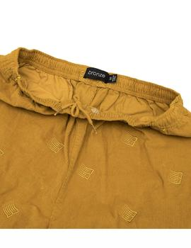 PANTALONES DE PANA BRONZE ALL OVER B LOGO MOSTAZA